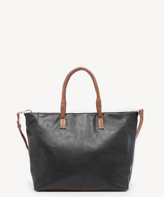 Sole Society Women's Mallory Tote Vegan Leather Black Combo From