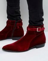 Walk London Notting Velvet Buckle Boots