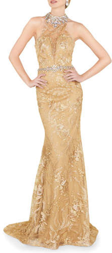 Mac Duggal Halter Beaded Illusion Column Gown with Lace Applique & Open Back