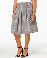 NY Collection Plus Size Pleated Plaid Skirt