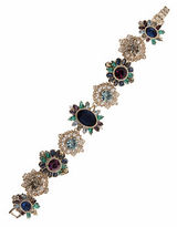 Marchesa Goldtone White Metal Cluster Bracelet