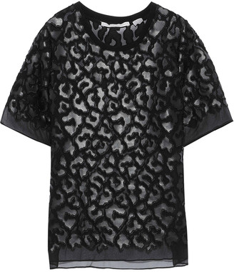 Stella McCartney Animalier Faux Leather-appliqued Silk-chiffon T-shirt