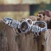 Smoky quartz pendant bracelet, 'Forever'