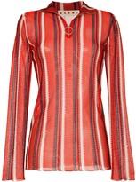 Marni zip detail stripe-knit top
