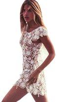 Orangesky Women Lace Crochet Hollow Bikini Cover Up Swimwear Beach Dress (L)