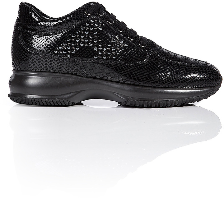 Hogan Embossed Leather Interactive Sneakers with Swarovski Crystal