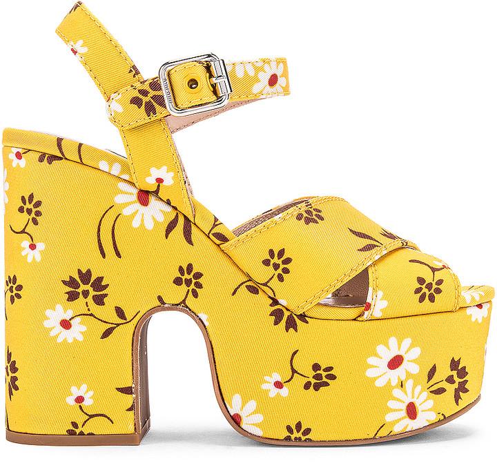 Miu Miu Daisy Platform Sandals in Topazio   FWRD