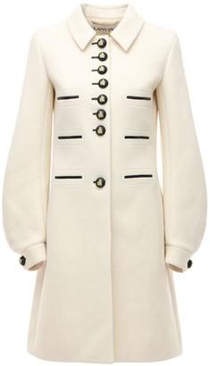 Lanvin Wool Blend Midi Coat W/ Puff Sleeves
