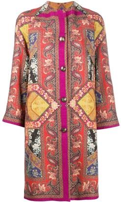 Etro Patchwork Print Tweed Coat