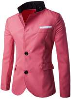 Whatlees What Lees Mens Casual Two Button Solid Stickup Neck Suit Blazer Coat -S