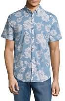 Original Penguin Floral Print Denim Button-Down Shirt