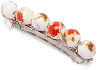 Timeless Pearly Floral-print Beaded Hair Clip - Red