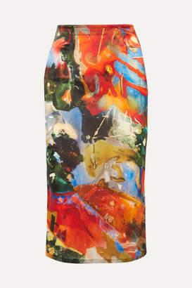 Thierry Mugler Printed Satin Skirt - Orange