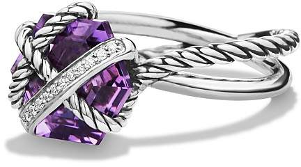 David Yurman Petite Cable Wrap Ring with Amethyst and Diamonds