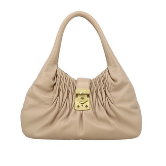 Miu Miu Bag In Laminated Leather With Metal Padlock