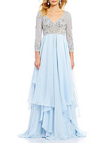 Terani Couture 3/4 Sleeve V-Neck Beaded Tiered Gown