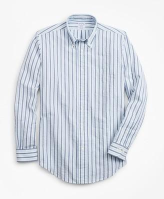 Brooks Brothers Regent Fit Bold Stripe Seersucker Sport Shirt