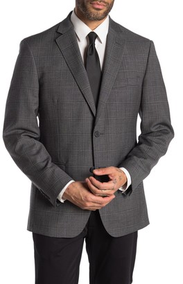 JB Britches Logan Charcoal Windowpane Two Button Notch Lapel Wool Sport Coat