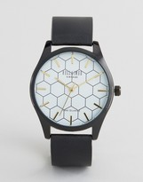 Reclaimed Vintage Hexagon Leather Watch In Black
