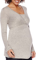 Asstd National Brand Maternity Long-Sleeve V-Neck Nursing Top-Plus