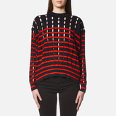 Alexander Wang Women's Stripe Cotton Crew Neck Pullover With Slits Navy/Lipstick