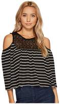 Romeo & Juliet Couture Cold Shoulder Stripe Top with Lace Trim Neck and Keyhole Back