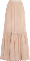 Needle & Thread Crochet-paneled tulle maxi skirt