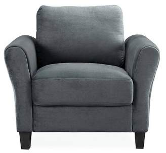 Lifestyle Solutions Willow Microfiber Chair with Rolled Arms Dark Gray - Studio Living