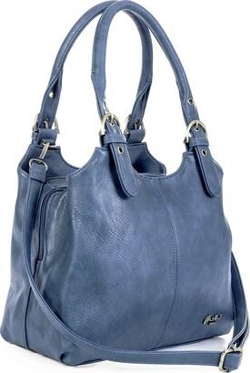 Mabel London Womens Multiple Pockets Handbag - Medium Size Multi Compartments Bag with a Long Shoulder Strap - AMELIA (Metallic Rose Gold)