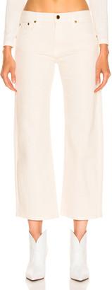 KHAITE Wendell Cropped Wide Leg Jean in Ivory | FWRD