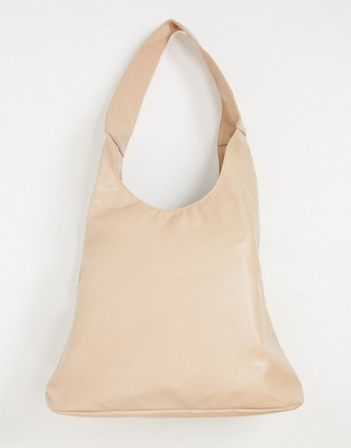 Glamorous slouchy tote bag in camel