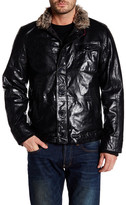 Gilded Age Faux Fur Collar Genuine Leather Bomber Jacket