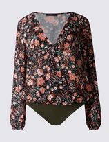 Marks and Spencer Floral Print V-Neck Bodysuit