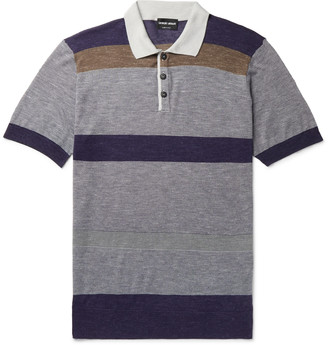 Giorgio Armani Slim-Fit Striped Silk, Cashmere And Linen-Blend Polo Shirt
