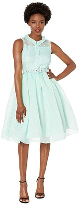 Unique Vintage Mint Dotted Georgia Swing Dress (Mint) Women's Dress