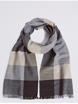 M&S Collection Pure Cotton Block Checked Scarf