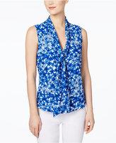 Calvin Klein Floral-Print Tie-Neck Blouse