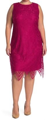 London Times Rose Sleeveless Lace Sheath Dress