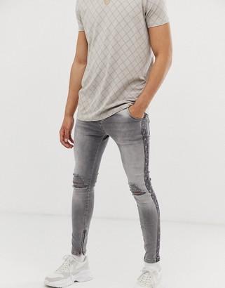 SikSilk super skinny jeans with monogram side logo