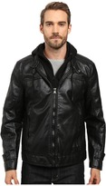 Andrew Marc Newfane Distressed Faux Leather Moto Jacket with Removable Bib Hoodie