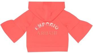 Emporio Armani Kids Embroidered cotton-blend hoodie
