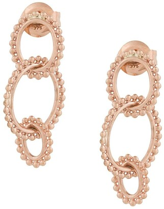 Natalie Marie 9kt rose Dotted Oval drop earrings