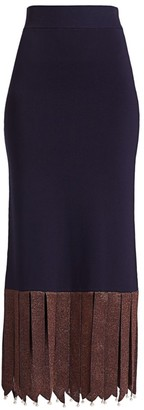 STAUD Maze Faux-Pearl Fringe Midi Skirt