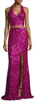 Mac Duggal Mesh Sequin Floor Length Gown
