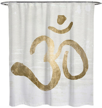 """Oliver Gal Ohm Gold Blanc"""" Shower Curtain, 71""""x74"""""""