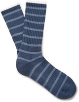 Norse Projects - Bjarki Striped Ribbed Loopback Cotton-blend Socks