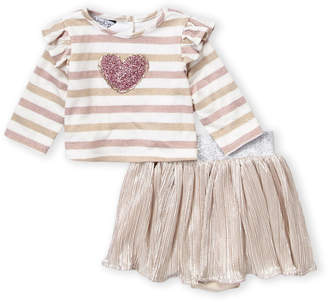 Pippa & Julie Toddler Girls) Two-Piece Long Sleeve Striped Heart Top & Skirt Set