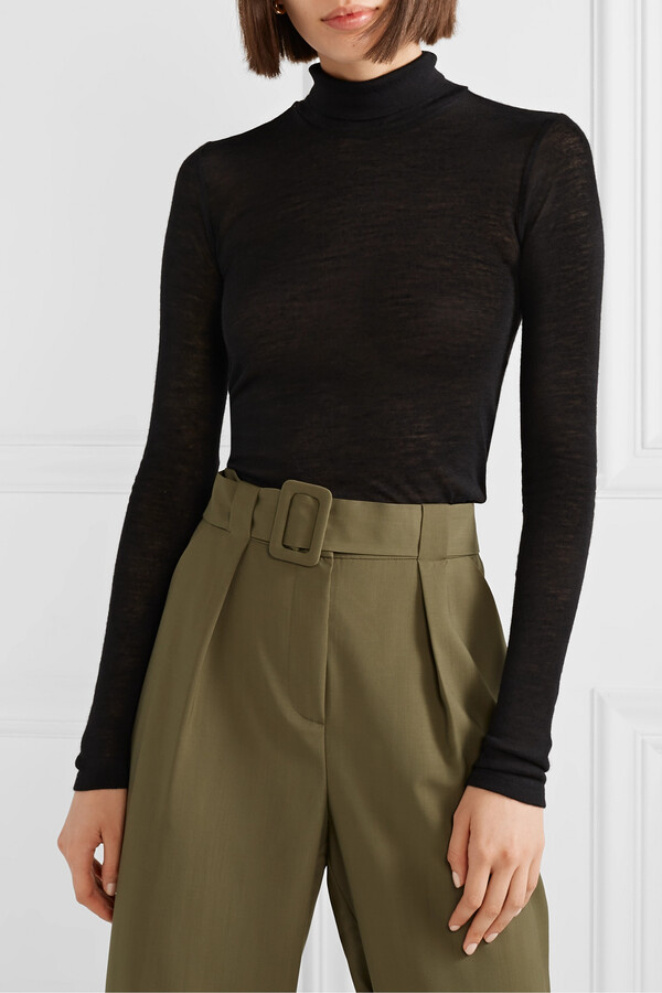 Thumbnail for your product : FRANCES DE LOURDES Lucie Slub Cashmere And Silk-blend Turtleneck Top - Black