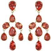 Oscar de la Renta Swarovski Crystal Cluster Drop Earrings