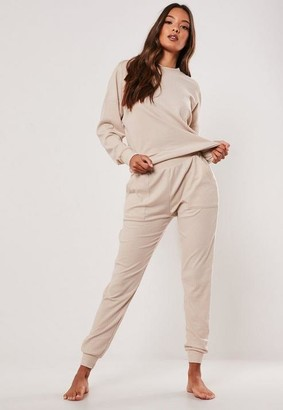 Missguided Ivory Rib Soft Touch Loungewear Tracksuit